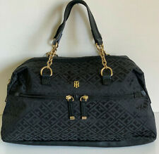 NEW! TOMMY HILFIGER BLACK BOWLER GOLD CHAIN SATCHEL TOTE BAG PURSE $89 SALE