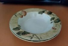 Asian Antique by 222 Fifth (PTS) 2 Soup Bowls  Red Geraniums Tan Body