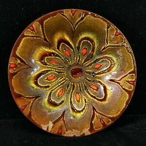 MidC Modern Don Andrick Signed Enamel On Copper Dish 1960s Browns & Reds 7.5 In