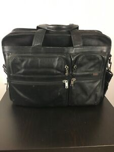 Tumi Alpha Black Napa Leather Expandable Laptop Business Carry On Luggage Bag