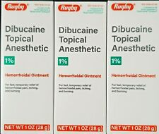 Rugby Dibucaine Topical Anesthetic 1% Hemorrhoidal Ointment -3 Pack -Exp 01-2023