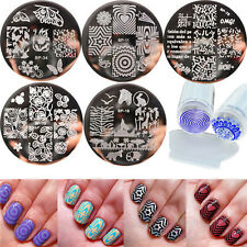 6pcs/set BORN PRETTY Nail Art Stamping Plates & Silicone Clear Stamper Kit DIY