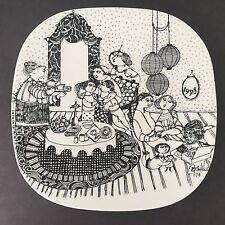 Vintage Bjorn Wiinblad Nymolle Danish Modern Pottery 50th Anniversary Plate 1978