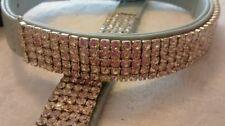 BOUTIQUE MEDIUM ECOPELLE LEATH Diamanté CUCCIOLO CANE COLLARE di piccole e medie RAZZE BLU