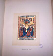 Illuminated Manuscript Bible Color Gold Lithograph Christian Church God Jesus X
