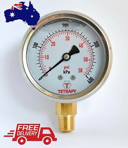 Pressure Gauge 63mm Liquid Filled Stainless Aussie Brand 1000/1600/2500kPa