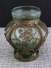 schöne alte Glasvase mit Messing Montage