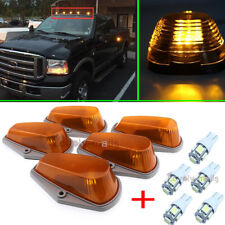 5pcs Amber Cab Marker Lights+T10 5050 White LED W/Harness For Ford F-150/250/350