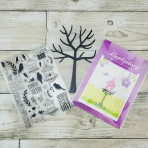 Hunkydory , A6,  little birds, tree, garden, dies, stamps, embossing folder