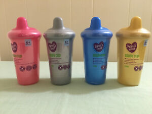 4 New Parent's Choice Sippy Cup 9 oz .6+ months Blue Pink Gold Silver BPA Free
