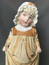 Adorable Antique German Bisque Heubach Piano Baby Girl Figurine Figure Victorian