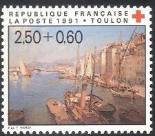 FRANCE 1991 Croix Rouge fonds/médecine/santé/bien-être/bateaux/ART/PEINTURES 1 V n43151