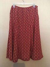 Women's DRESSBARN Red Orange Mid Calf Length Pull On Unlined Career Skirt Large