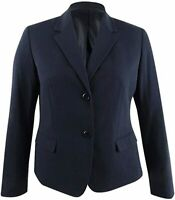 NINE WEST Women's Two Button Bi Stretch Notch Suit Jacket, Navy, 12