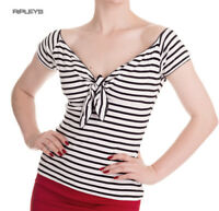 HELL BUNNY Shirt 50s Top DOLLY Stripe Sailor Black/White All Sizes