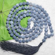 8mm Tibetan Buddhism 108 Bead Black Dream Fire Agate Prayer Mantra Necklac JN752