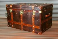 Vintage Tan English Leather Coffee Table Chest Trunk with Antique leather Trim