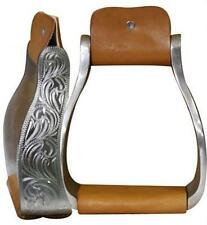Showman Aluminum Engraved Off Set Stirrups w/ Leather Tread!! NEW HORSE TACK!!