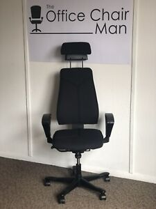Kinnarps 6000 Extra High Back Task Chair With Head Rest In Black