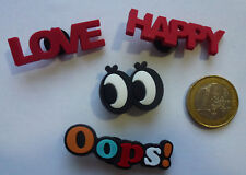 4x Damen Mädchen Message Love Happy XXL Schuh Charm Clogs Jibbitz* Pin Patch NEU