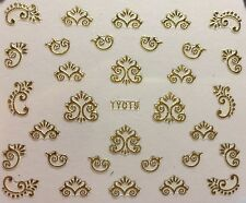 Nail Art 3D Decal Stickers Gold Floral Swirls TY019