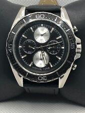 Michael Kors MK8454 Men's Black Leather Analog Black Dial Quartz Watch KS357