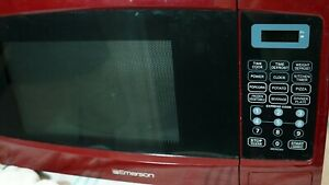 Emerson RETRO RED Countertop Microwave Oven 1000W LED Display Glass Turntable