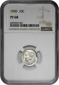 1950 10C Proof Silver Roosevelt Dime NGC PF 68