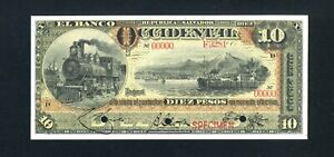 El Salvador S177s2 Specimen 10 Pesos 1917-18, Choice Unc, 99c NO RESERVE