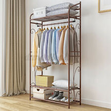4 Tiers Stainless Steel Clothes Storage Rail Rack Stand Shoe Garment Display