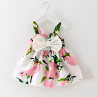Girl Cartoon Lemon Printed Infant Outfit Sleeveless Princess Gallus Dress Clothe