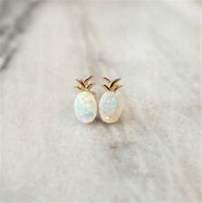 925 Gold White Opal Women Jewelry Fruit Pineapple Wedding Ear Stud Earrings