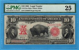Fr. 121m 1901 $10 Legal Tender Mule Note PMG Very Fine 25