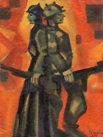 "Expressionist ""Krieg"" Öl Leinwand 40x30 cm"