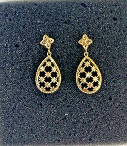 Vintage 14k Yellow Gold Bright Cut Elegant Teardrop Onyx Dangle Earrings 4 Grams