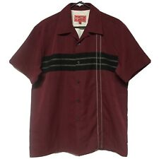 Woody's Retro Lounge Men's Button Down Short Sleeve Stitch Shirt Size Medium