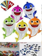 "Baby Shark Balloons 26"" Happy Birthday Banner Party Decorations Free Tattoos Nib"