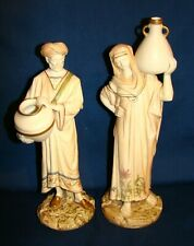 Royal Worcester Blue Ivory #1250 Cairo Water Carriers Man & Woman Figurines