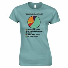 Working From Home Womens TShirt Pie Chart Joke Lazy Self Employed Funny Tee