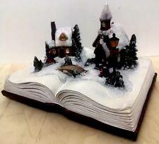 Weihnachtsszene  Weihnachtsmann Buch m. LED Beleuchtung Licht Weihnachten Baum B