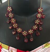 "Vintage Rare Red Glass Dangle Necklace Czech 18""x1.75"" Floral Victorian"
