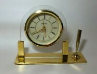 Pen holder With Duck Gold color Metal with Cherry Wood New AFLAC Desk Clock