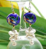 6-7mm White Round Natural Pearl with 18mm Blue Cloisonne Dangle earring-ear515
