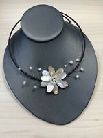 Vintage Bohemian MOP Flower Freshwater Pearl Choker Wrapped Flex Wire Necklace
