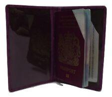 Passport wallet holder in Purple ostrich print leather