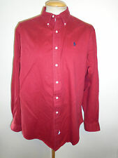 Ralph Lauren POLO men's Burgundy Long Sleeve Casual Shirt Loose Fit Size L 42-46