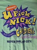 Vtg 1996 Nickelodeon Studios U PICK NICK Festival Kid Youth Tee T-shirt Sz 14-16