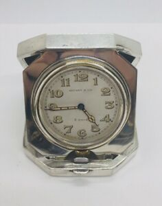 Tiffany & Co. Antique Sterling Silver Manual Wind 8 Day Travel Clock