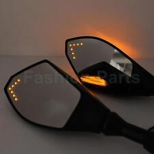 Universal Motorbike Wing Mirrors LED Turn Signals 8mm 10mm for Honda Lexmoto BMW