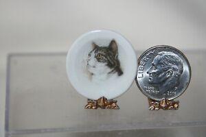 Miniature Dollhouse Muriel Hopwood Decorative Wall/Cabinet Plate w Cat 1:12 NR